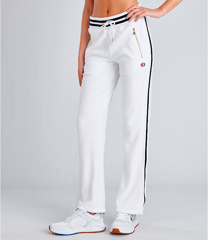 Front view of Women's Champion Life Terry Warm-Up Slim Flare Pants in White