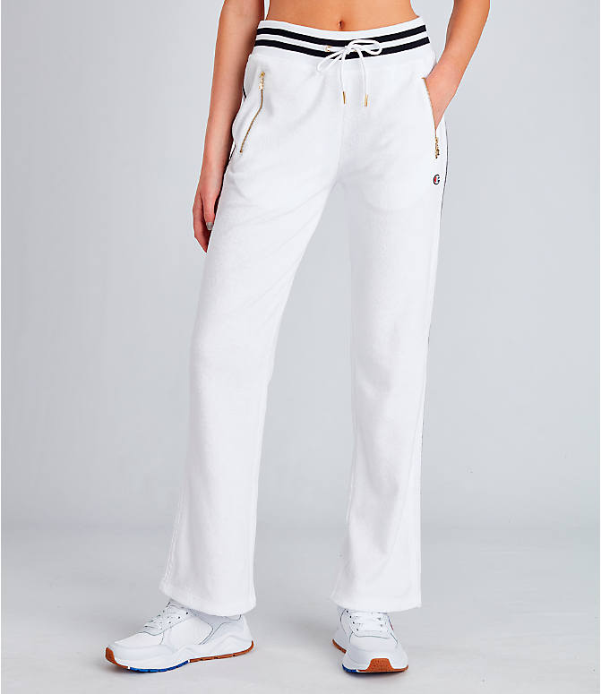 Front Three Quarter view of Women's Champion Life Terry Warm-Up Slim Flare Pants in White