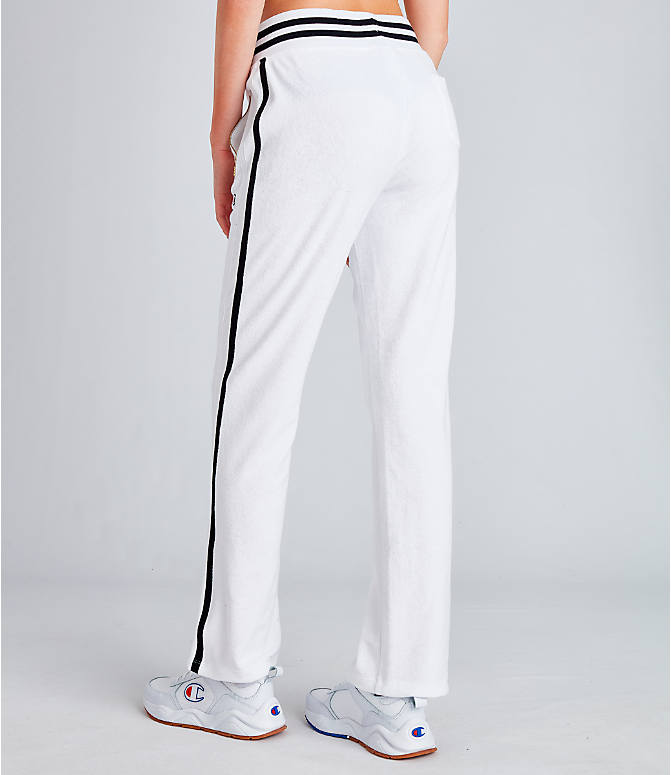 Back Left view of Women's Champion Life Terry Warm-Up Slim Flare Pants in White
