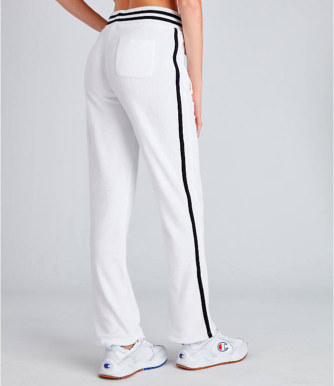 Back Right view of Women's Champion Life Terry Warm-Up Slim Flare Pants in White