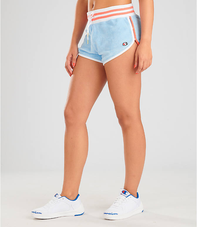 Front Three Quarter view of Women's Champion Life Terry Shorts in Oceanfront Blue