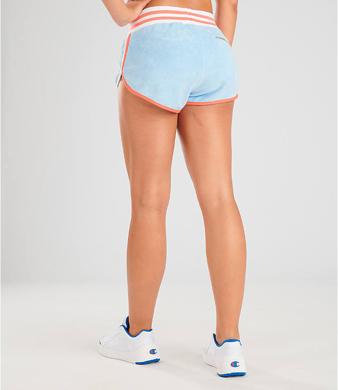 Back Left view of Women's Champion Life Terry Shorts in Oceanfront Blue