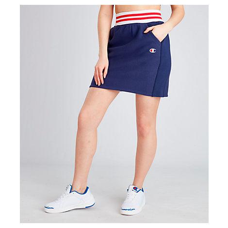 Champion Skirts WOMEN'S CHAMPION LIFE REVERSE WEAVE YARN DYE STRIPE SKIRT, BLUE