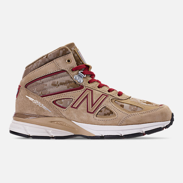 Right view of Men's New Balance 990v4 Mid Sneakerboots in Incense/Scarlet