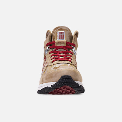 Front view of Men's New Balance 990v4 Mid Sneakerboots in Incense/Scarlet