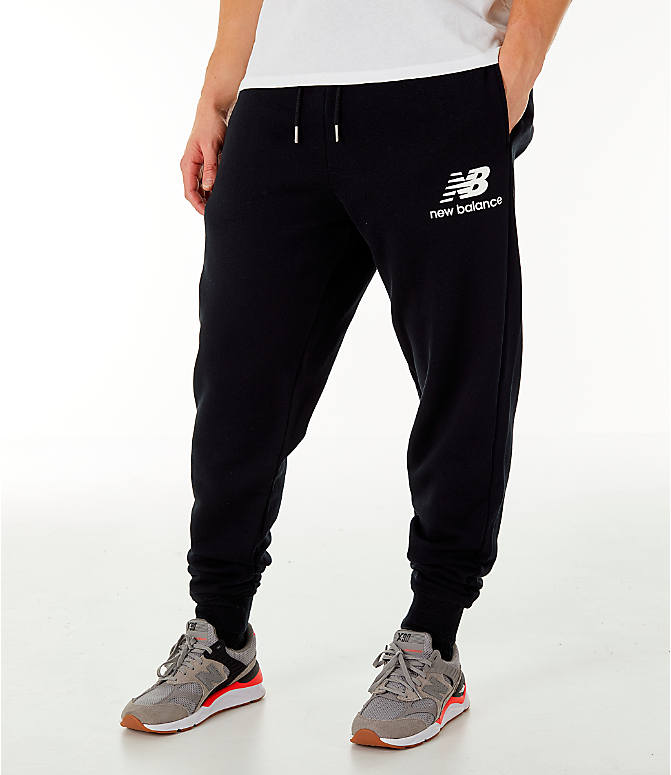 Front view of Men's New Balance Essentials Brushed Sweatpants in Black
