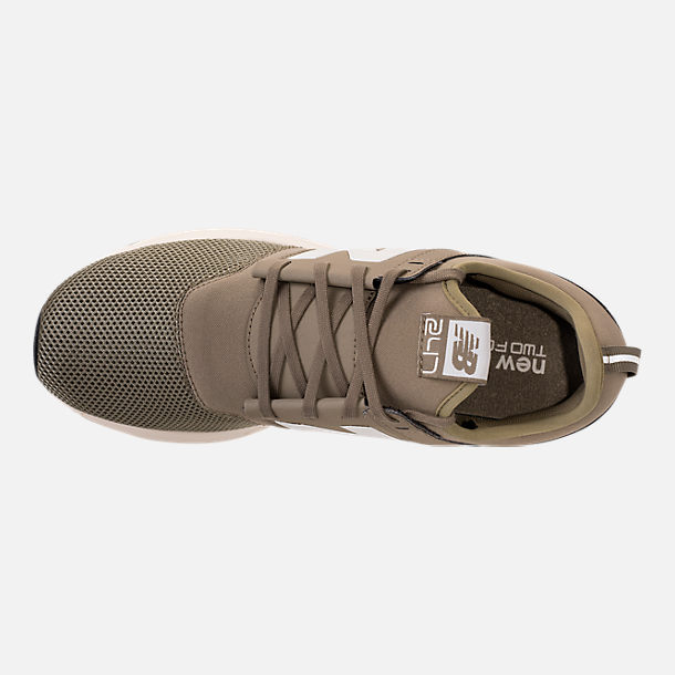 Top view of Men's New Balance 247 Classic Casual Shoes in Khaki/White