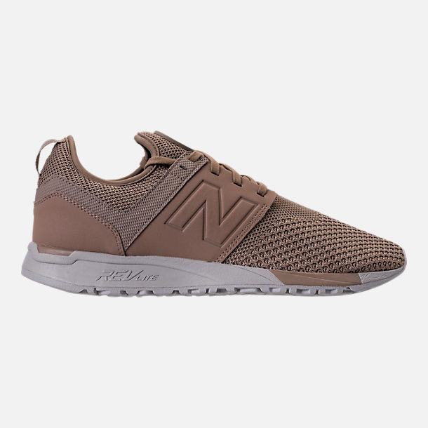 Right view of Men's New Balance 247 Knit Casual Shoes in Taupe/black