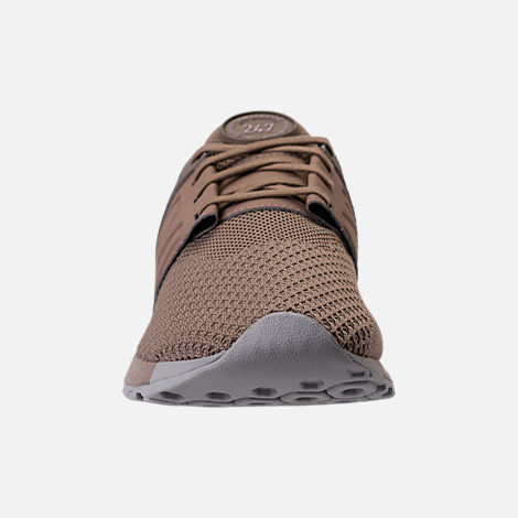 Front view of Men's New Balance 247 Knit Casual Shoes in Taupe/black