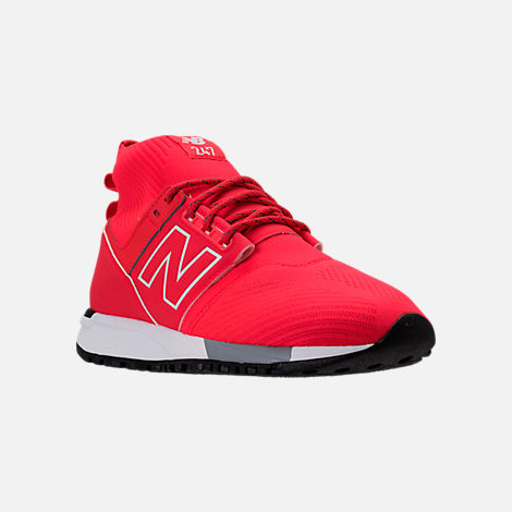 Three Quarter view of Men's New Balance 247 Mid Casual Shoes in Red/White
