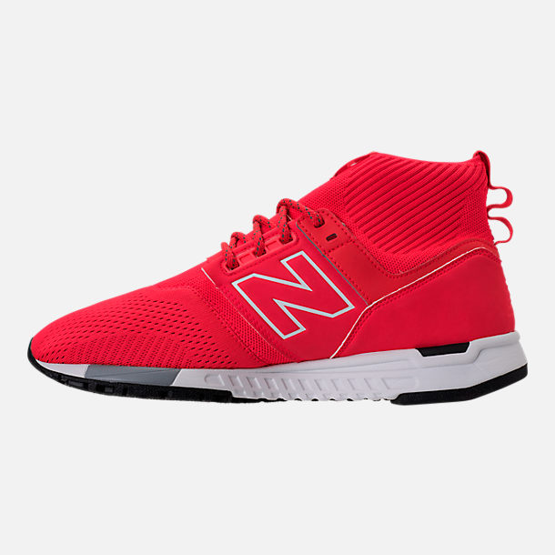 Left view of Men's New Balance 247 Mid Casual Shoes in Red/White