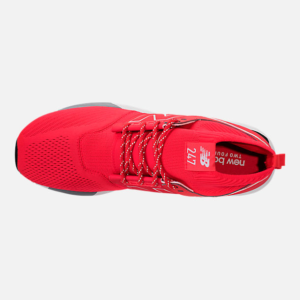 Top view of Men's New Balance 247 Mid Casual Shoes in Red/White