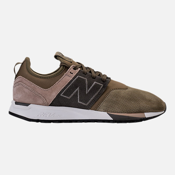 Right view of Men's New Balance 247 Premium Casual Shoes in Green/Beige