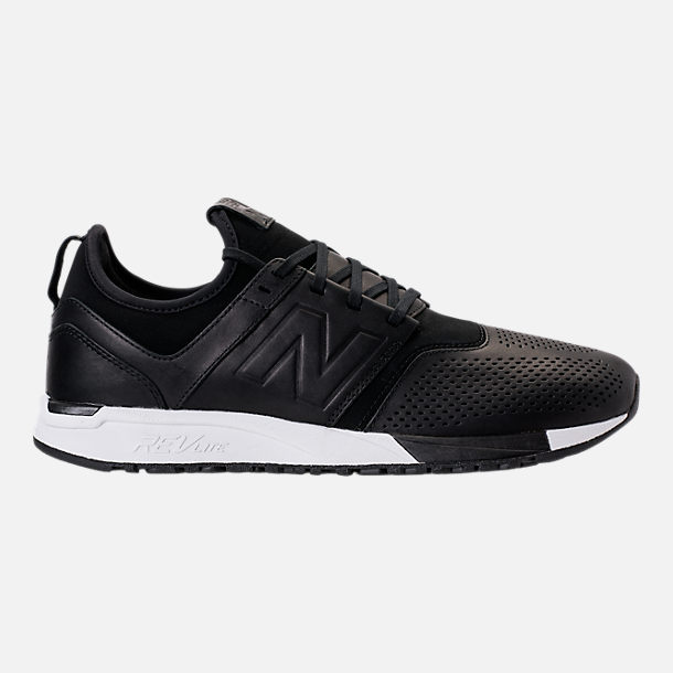 Right view of Men's New Balance 247 Leather Casual Shoes in Black/Black