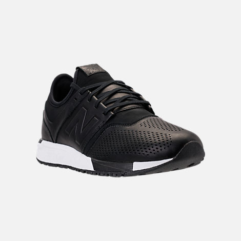 Three Quarter view of Men's New Balance 247 Leather Casual Shoes in Black/Black