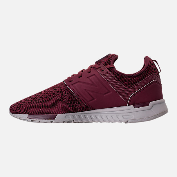 Left view of Men's New Balance 247 Knit Casual Shoes in Burgundy/Overcast