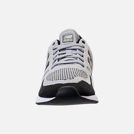 Front view of Men's New Balance 420 Textile Casual Shoes in Grey/Black