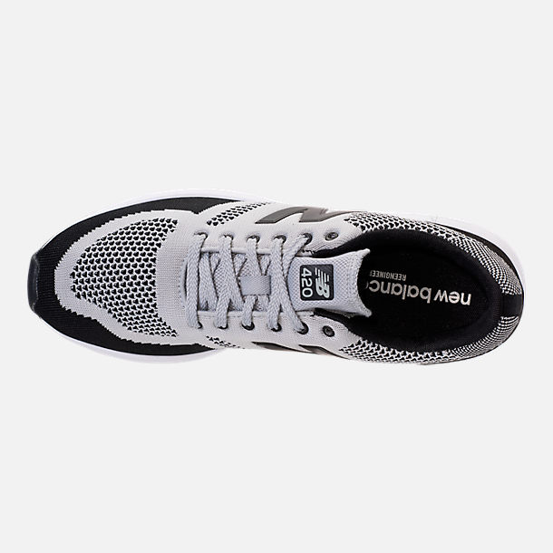 Top view of Men's New Balance 420 Textile Casual Shoes in Grey/Black