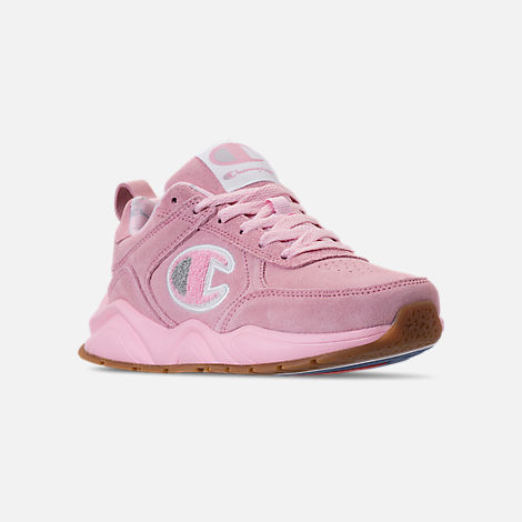 Three Quarter view of Girls' Champion 93Eighteen Casual Shoes in Pink Nubuck