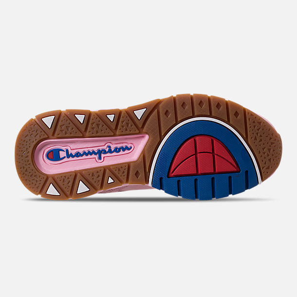 Bottom view of Girls' Champion 93Eighteen Casual Shoes in Pink Nubuck