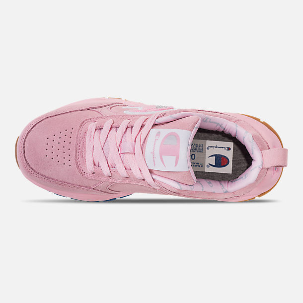 Top view of Girls' Big Kids' Champion 93Eighteen Casual Shoes in Pink Nubuck