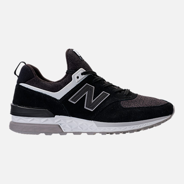 Right view of Men's New Balance 574 Sport Suede Casual Shoes in Black/White