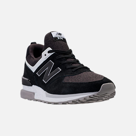 Three Quarter view of Men's New Balance 574 Sport Suede Casual Shoes in Black/White