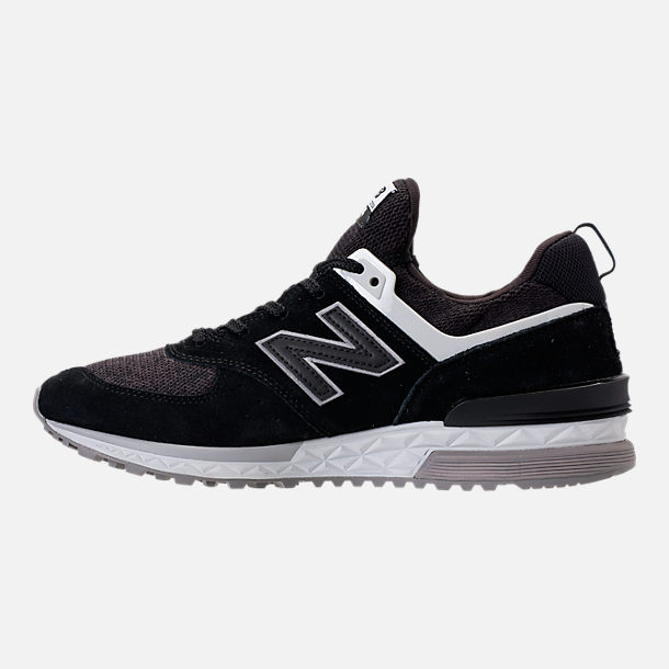 Left view of Men's New Balance 574 Sport Suede Casual Shoes in Black/White