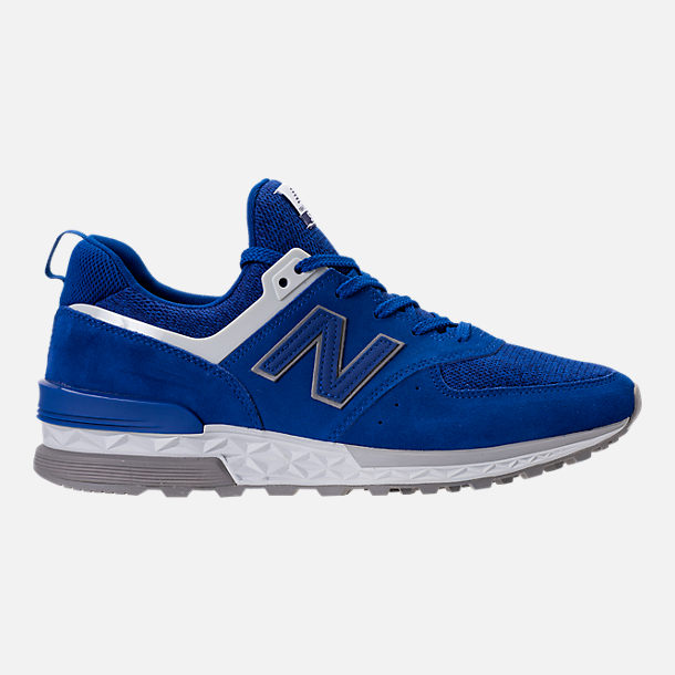 Right view of Men's New Balance 574 Sport Suede Casual Shoes in Blue/White