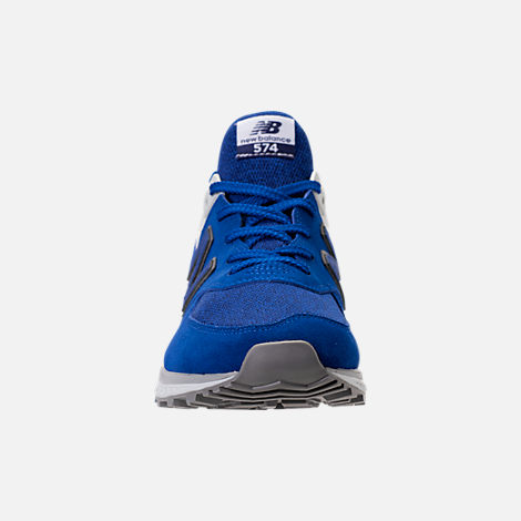 Front view of Men's New Balance 574 Sport Suede Casual Shoes in Blue/White