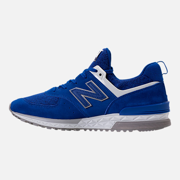 Left view of Men's New Balance 574 Sport Suede Casual Shoes in Blue/White