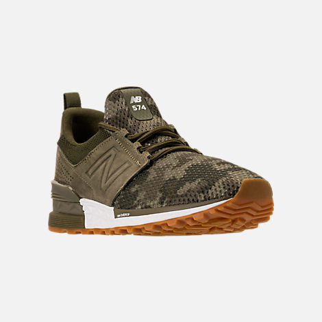 Three Quarter view of Men's New Balance 574 Sport Camo Casual Shoes in Military Foliage Green/Covert