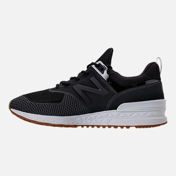 Left view of Men's New Balance 574 Sport Knit Casual Shoes in Magnet/Black