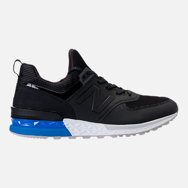 Right view of Men's New Balance 574 Sport Synthetic Casual Shoes in Black/Blue