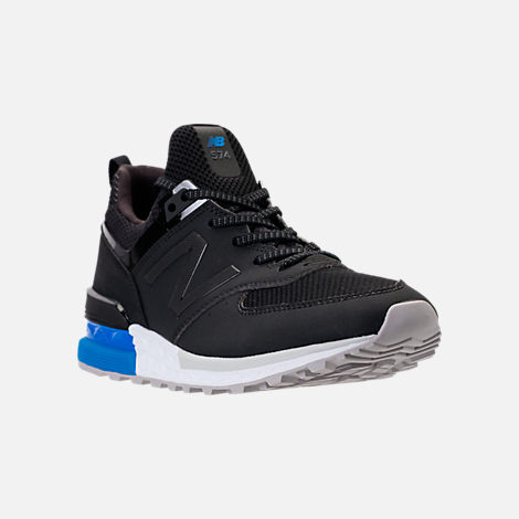 Three Quarter view of Men's New Balance 574 Sport Synthetic Casual Shoes in Black/Blue