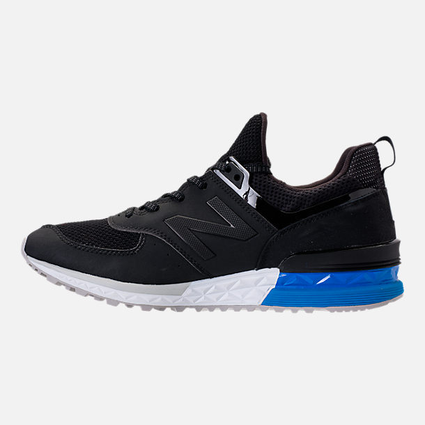 Left view of Men's New Balance 574 Sport Synthetic Casual Shoes in Black/Blue