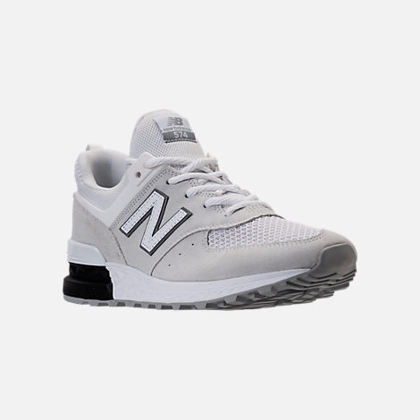 Three Quarter view of Men's New Balance 574 Sport Casual Shoes in Arctic Fox/Mussell White