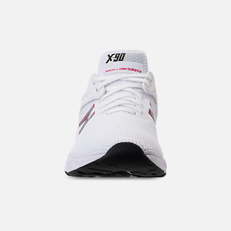 Front view of Men's New Balance X-90 Knit Casual Shoes in White/Pomegranate
