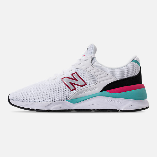 Left view of Men's New Balance X-90 Knit Casual Shoes in White/Pomegranate