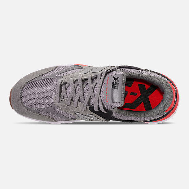Top view of Men's New Balance X-90 V2 Casual Shoes in Grey/Black/Red