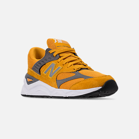 Three Quarter view of Men's New Balance X-90 V2 Casual Shoes in Mustard/Yellow