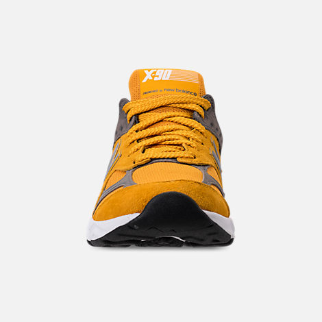 Front view of Men's New Balance X-90 V2 Casual Shoes in Mustard/Yellow