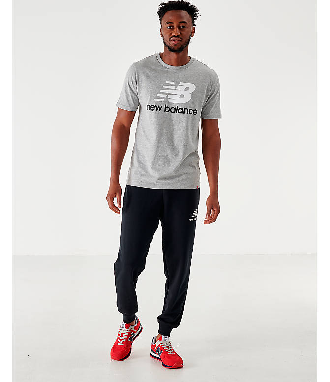 Front Three Quarter view of Men's New Balance Essentials Stacked Logo T-Shirt in Grey