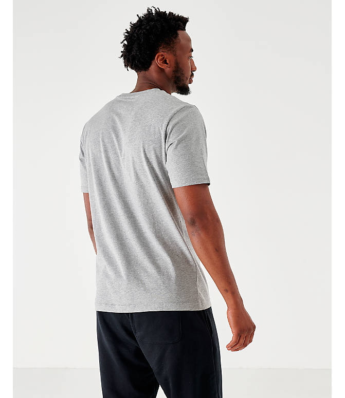 Back Left view of Men's New Balance Essentials Stacked Logo T-Shirt in Grey
