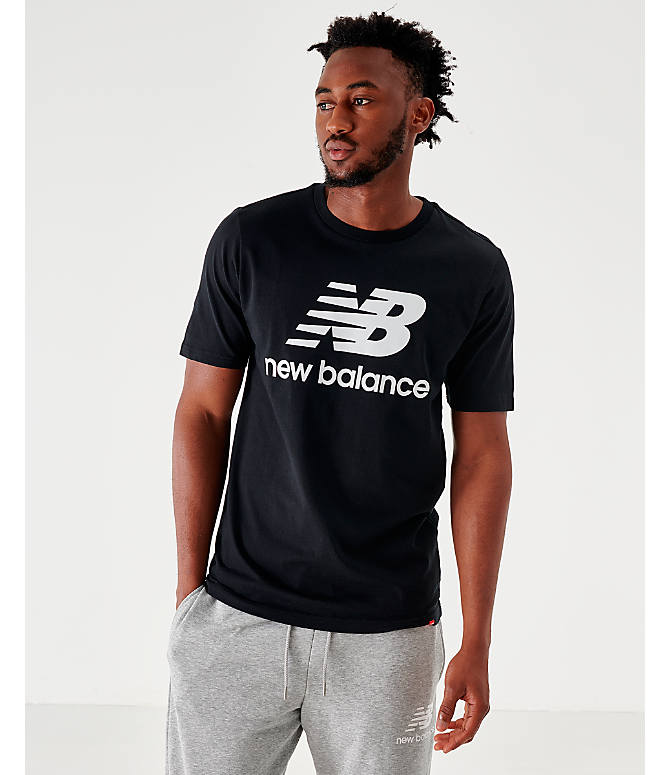 Front view of Men's New Balance Essentials Stacked Logo T-Shirt in Black