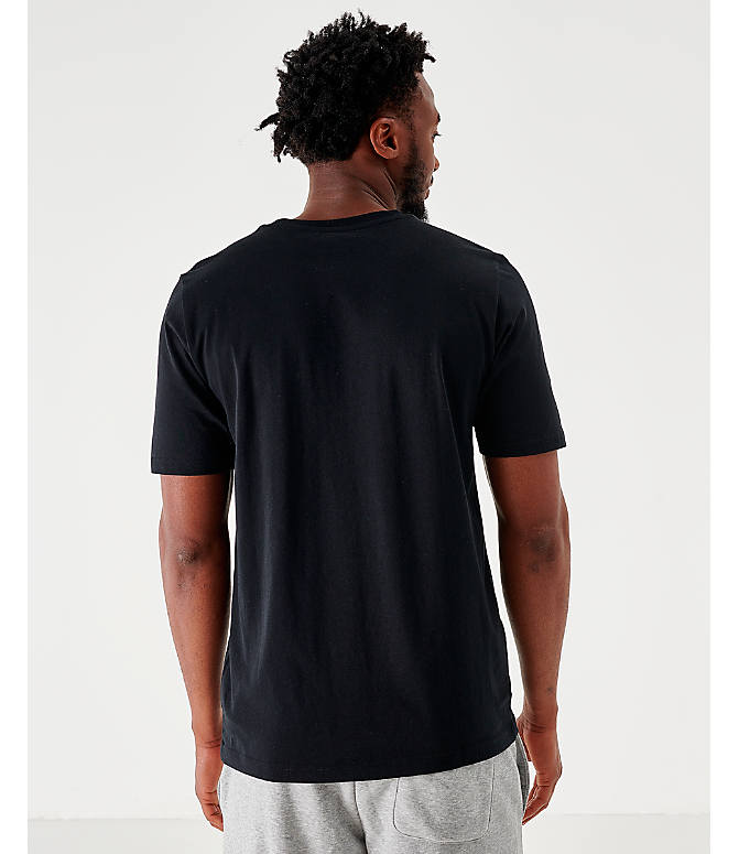 Back Left view of Men's New Balance Essentials Stacked Logo T-Shirt in Black