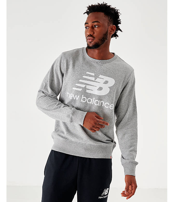 Front view of Men's New Balance Essentials Stacked Logo Crewneck Sweatshirt in Grey