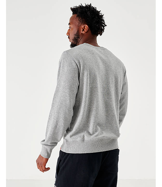 Back Left view of Men's New Balance Essentials Stacked Logo Crewneck Sweatshirt in Grey