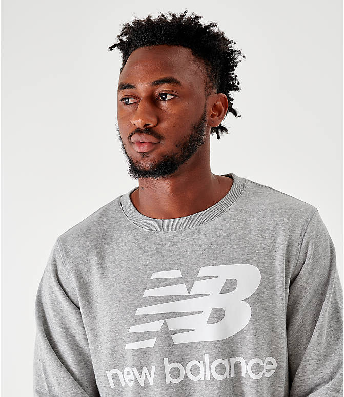 Back Right view of Men's New Balance Essentials Stacked Logo Crewneck Sweatshirt in Grey