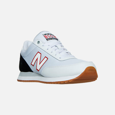 Three Quarter view of Men's New Balance 501 Gum Ripple Casual Shoes in White/Black/Gum